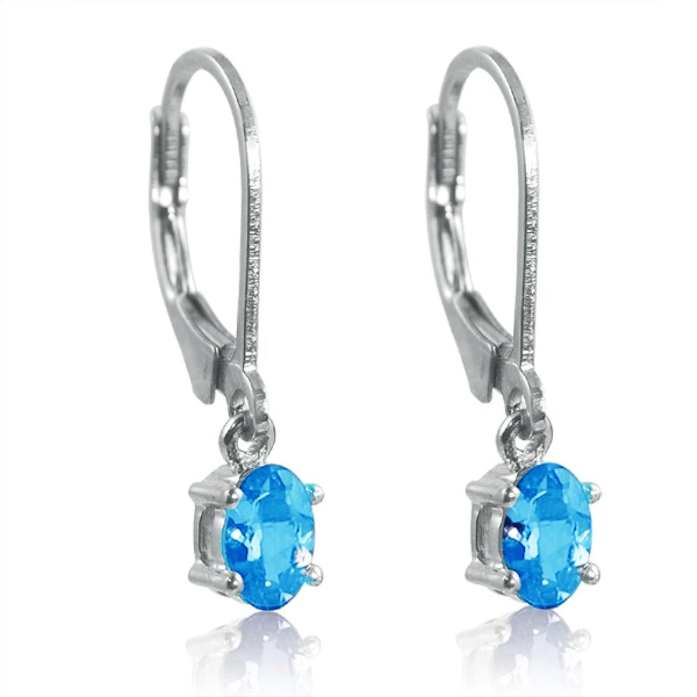 Amazon: Swiss Blue Topaz Leverback Earrings Set In Sterling Silver 1ct  Tw: Dangle Earrings: Jewelry