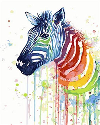 DIY Oil Painting Paint by Number Kit for Kids Adults Beginner 16x20 inch - Color Zebra, Drawing with Brushes Christmas Decor Decorations Gifts (Frame) (Without Frame) ()