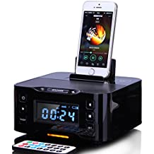 innuoo Wireless Speakers Bluetooth Loudspeakers Home Charge Dock with Digital Snooze Alarm Clock