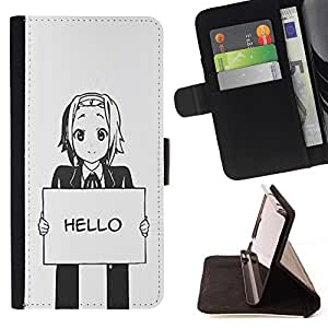 For Samsung Galaxy S3 III I9300 Hello Grey Anime Japanese Cartoon Message Style PU Leather Case Wallet Flip Stand Flap Closure Cover