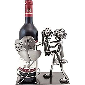 BRUBAKER Wine Bottle Holder Statue Love Couple Carrying Wife Over The Threshold Sculptures