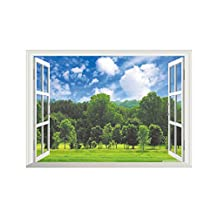 Winhappyhome Forest Scene Fake Window Wall Art Stickers for Bedroom Living Room Coffee Shop Background Removable Decor Decals
