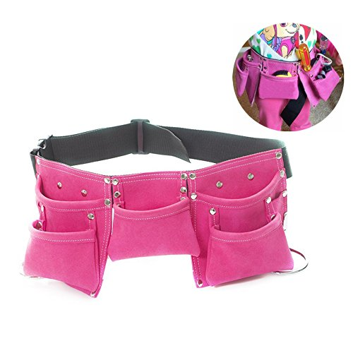 Fellibay Double Tool Belt Nail Tool Pouch Builders Bag Belt Storage Hammer Holder Waist Bag with 5 Pockets for Kids Children (Magenta) ()
