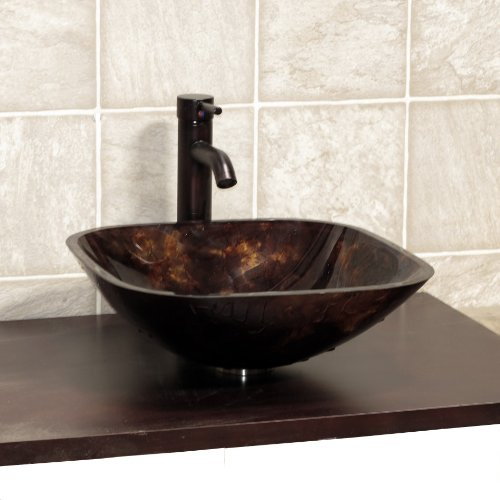 Bathroom Artistic Square S9019 combo Glass Vessel Sink with Oil Rubbed Bronze Faucet+drain by ELIMAX'S