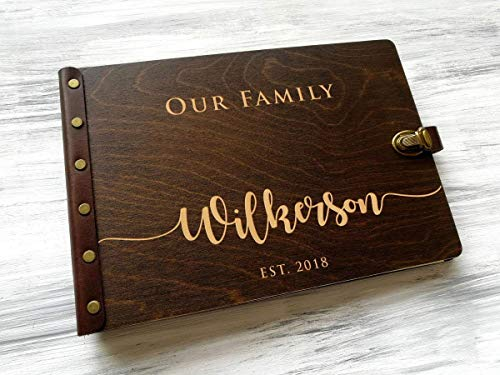 Family Photo Album Personalized Photo Albums Custom Family Gift for Couple Mom Photo Gift Wedding Anniversary Gift Custom Engraved Memory Book Personalized Scrapbook Wood Photo Album ()