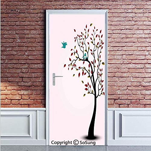 Flying Birds Decor Door Wall Mural Wallpaper Stickers,Cute Bird Family on the Windy Tree Floral Branches Baby Mother Happiness Decorative Art,Vinyl Removable 3D Decals 35.4x78.7/2 Pieces set,for -