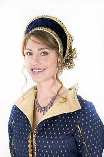 French Tudor Hood Womens Renaissance Head Piece Blue
