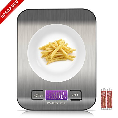 Digital Food Scale, Venderise Multifunction Kitchen Scale with LCD Display, 11lb/5kg, Silvery, Stainless Steel (Batteries Included)