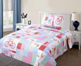 Green World 2 Piece Kids Bedspread Quilts Set Throw Blanket for Teens Girls Bed Printed Bedding Coverlet, Twin Size, Bicycle, Pink Blue Red Plaid