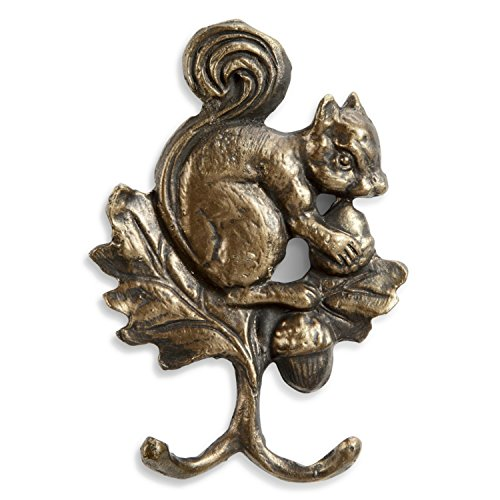 SPI Home Squirrel Carrying Acorns Double Wall Hooks Antiqued Brass Finish 6.5 Inches (Cast Iron Squirrel Hook)