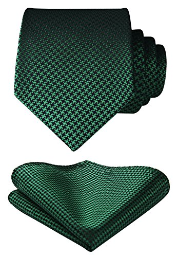 Houndstooth Green Necktie Square Handkerchief amp; Men's Pocket HISDERN Tie Set Wedding Party q5CnPy