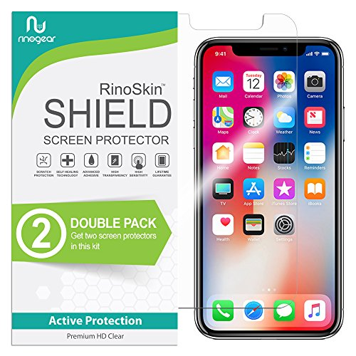 RinoGear iPhone X & XS Screen Protector [2-Pack] (Edge-to-Edge) Flexible HD Crystal Clear Anti-Bubble Unlimited Replacement Film