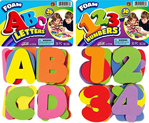 Foam Letters and Numbers Great Bath Toys Tiles (Pack of 2 Sets) by JA-RU | 3 Alphabet & 3 Numbers. Educational Game and…