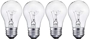 4 Pack 60A15/CL - 60 Watts A15 Incandescent Oven Bulb - Appliance Bulb - Clear Finish - Medium (E26)