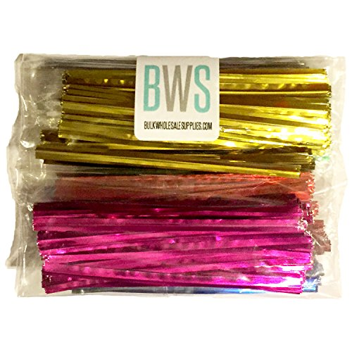 BWS 300 Metallic Twist Ties - 50 Each 6 Colors Red Silver Gold Pink Blue Green Craft Favors Garden Bread Treat Bags (96) by Bulk Wholesale Supplies TM (Image #1)