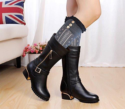 b4e95157057 1 par negro Mujeres rodilla calcetines altos con el cordón de algodón y  botones abiertas calcetines ...