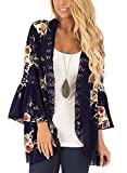 Glomeen Women's Boho Lace Patchwork Floral Print Coat Tops Casual Kimono Cardigan Cover up