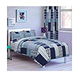 All American Collection New 2pc Printed Modern Bedspread Coverlet Set (Twin Bedspread, Navy Patchwork)