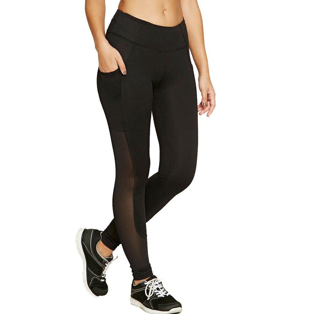 Girls Tight Pants Yoga Women Workout Clothing Activewear Net Yarn Splicing by Fenta