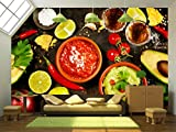 wall26 - Mexican Food Concept: Tortilla Chips, Guacamole, Salsa, Tequila Shots and Fresh Ingredients - Removable Wall Mural | Self-adhesive Large Wallpaper - 100x144 inches