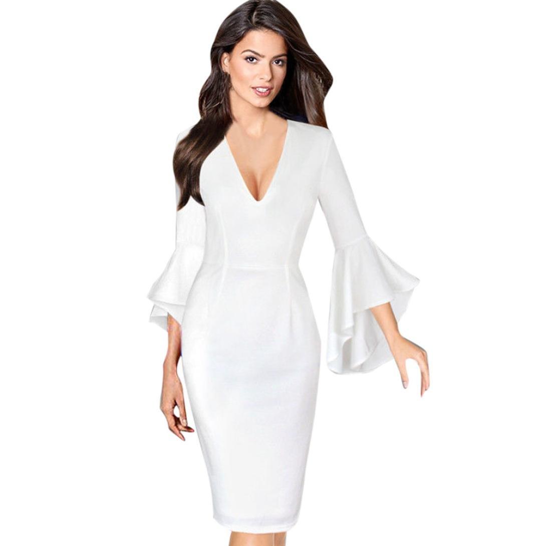 sunday77 Frauen Kleid Sexy Deep V-Ausschnitt Flare Bell Lange Ärmel ...