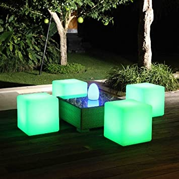 Fibreglass Stools Cubes With Lights Illuminated Outdoor