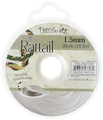 DARICE 1999-4688 20-Yard Nylon Rattail Cord, 1.5mm, White