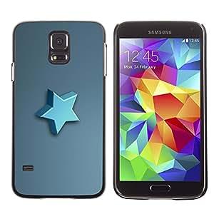 // PHONE CASE GIFT // Duro Estuche protector PC Cáscara Plástico Carcasa Funda Hard Protective Case for Samsung Galaxy S5 / Estrella azul /