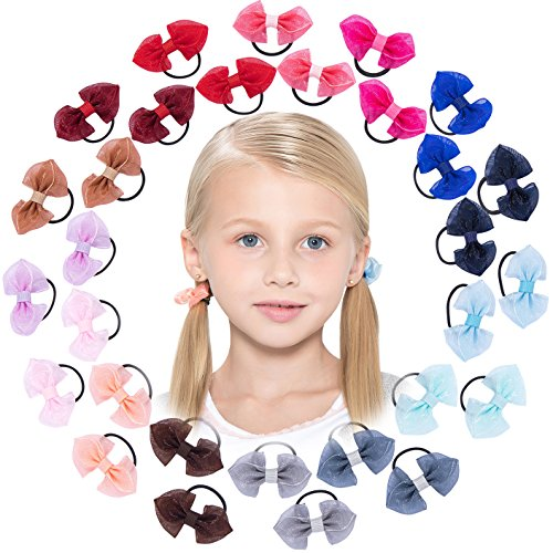 10/18/30 Pack: HBY Girls No Crease Ouchless Stretch Elastic Hair Bow Ties Ponytail Holders