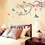 Dingoo Flower Peach Blossom Tree Branch Instant Wall Decal Sticker for Living Room Bedroom