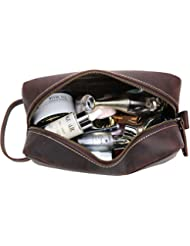 Leather Toiletry Bag Iswee Travel Organizer Shaving Dopp Kit Makeup Cosmetic Organizer (Dark Brown)