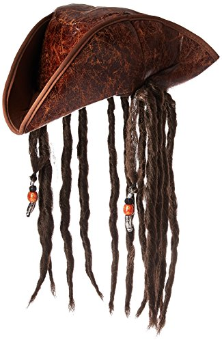 Jacobson Hat Company Men's Caribbean Pirate with Braids, Brown, One Size -