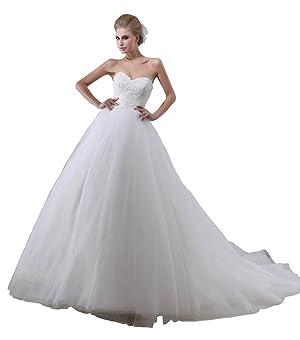 YORFORMALS Women's Strapless Ball Gown Wedding Dress Organza Bridal Gown Size 8 White