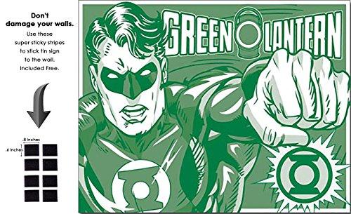 Shop72 Tin Sign DC Comic Green Lantern Super Hero Metal Tin Sign Retro Vintage - With Sticky Stripes . No Damage to Walls (Cheap Metal Lanterns)