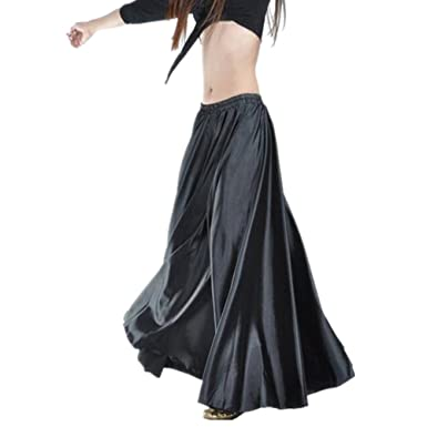 e9422d0c5e ZYZF 90cm Belly Dance Satin Long Dress Elastic Waistband Design Skirt  Costumes