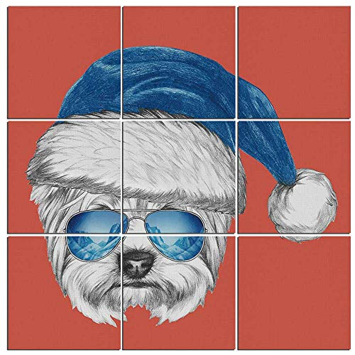 Modern Prints on Canvas Artwork Yorkie Canvas Print 9 Panels Wall Art for Living Room for Wall Decor Home Decoration,PRINT WITH GLOSSY,Ready to Hang,Terrier with a Blue Santa Hat and Mirror Aviator Gl ()