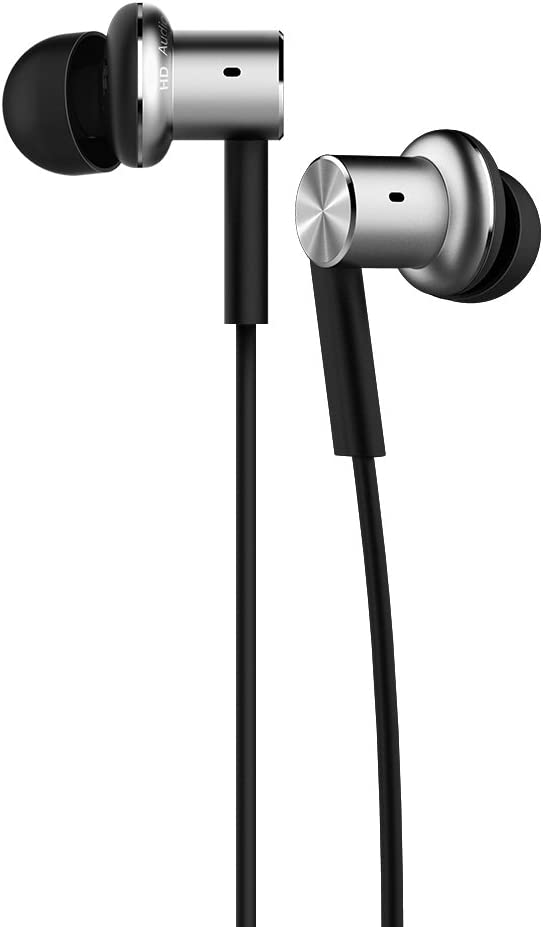 Mi In-Ear Headphones Pro Silver Dual Driver Earbuds with Mic, including 3 size earbuds (US Version with Warranty)