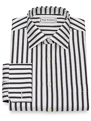 Paul Fredrick Men's Non-Iron Cotton Twill Stripe Dress Shirt Black/White (Paul Fredrick Twill Stripe Dress Shirt)