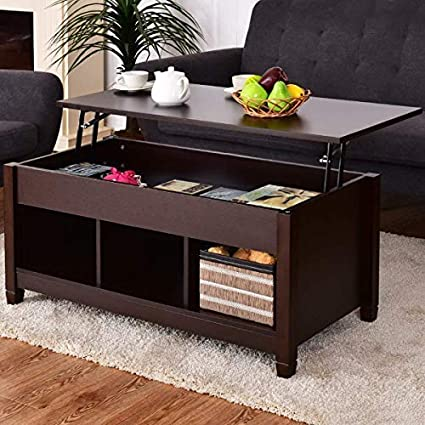 Casart Coffee Table Lift Top Wood Home Living Room Modern Lift Top Storage  Coffee Table w/Hidden Compartment Lift Tabletop Furniture