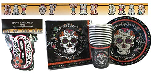 Halloween Sugar Skull Day of the Dead Party Pack for 12 Paper Plates, Napkins, Cups, 1 Banner 4 Piece Bundle -