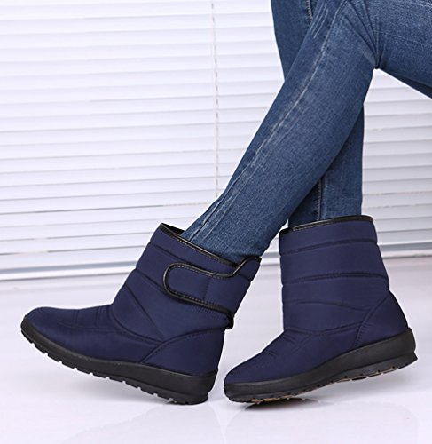 Scarpe Stivali Corta di Medioevo Caldi Stivaletti Yiiquan Blu Velcro per da Invernali Donna Neve xqUYgxwtz