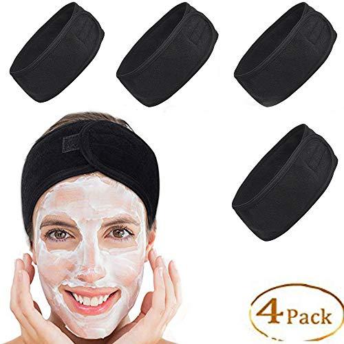 4PCS Black Spa Headband, Soft Facial Make up Headband with Wide Elastic for Women, Non-slip Stretch Terry Cloth Head Wrap, Sweat Abosrbent Headband Yoga Sport Headband Shower Head Towel Turban