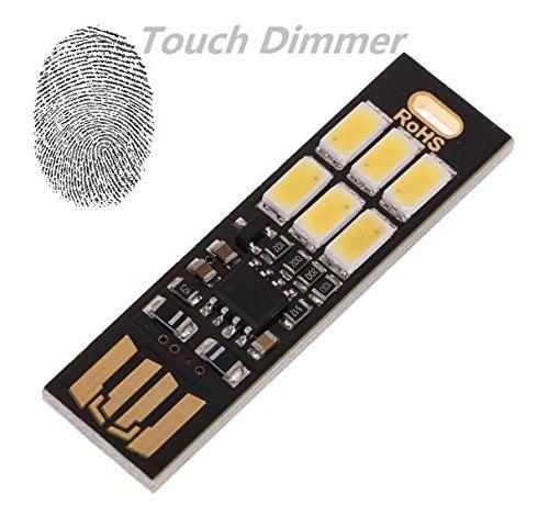UEB Tarjeta de bolsillo Bombilla de la lampara 6led Llavero Mini LED luz de la noche USB Port/átil