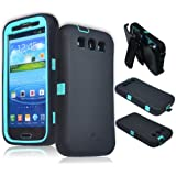 [180 days warranty] ZeroLemon Samsung Galaxy S III ZeroShock Shockproof/Dustproof Rugged Mint Green / Viper Black Case + Holster/KickStand + Screen Protector for Original Slim & 7000mAh Extended Battery Case ***Battery NOT Included*** (Compatible with Samsung Galaxy S III GT-i9300, AT&T Samsung Galaxy S3 Samsung i747, Verizon Samsung Galaxy S3 Samsung i535, T-mobile Samsung Galaxy S3 Samsung T999, U.S. Cellular Samsung Galaxy S3 R530, and Sprint Samsung Galaxy S3 Samsung L710)S3-R-Green/Black