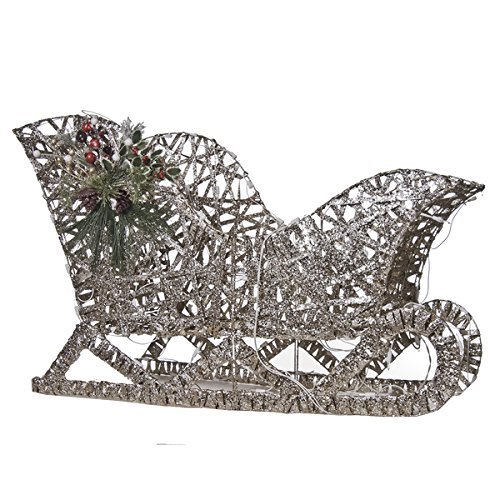 Pre-lit Glittering Sleigh Indoor/outdoor Christmas Decorations by