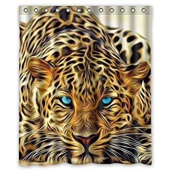 KXMDXA Special Effect Leopard With Authentical Blue Eyes Wild Animal Waterproof Polyester Bath Shower Curtain Size 60x72 Inch (Cheetah Bathroom Curtains)