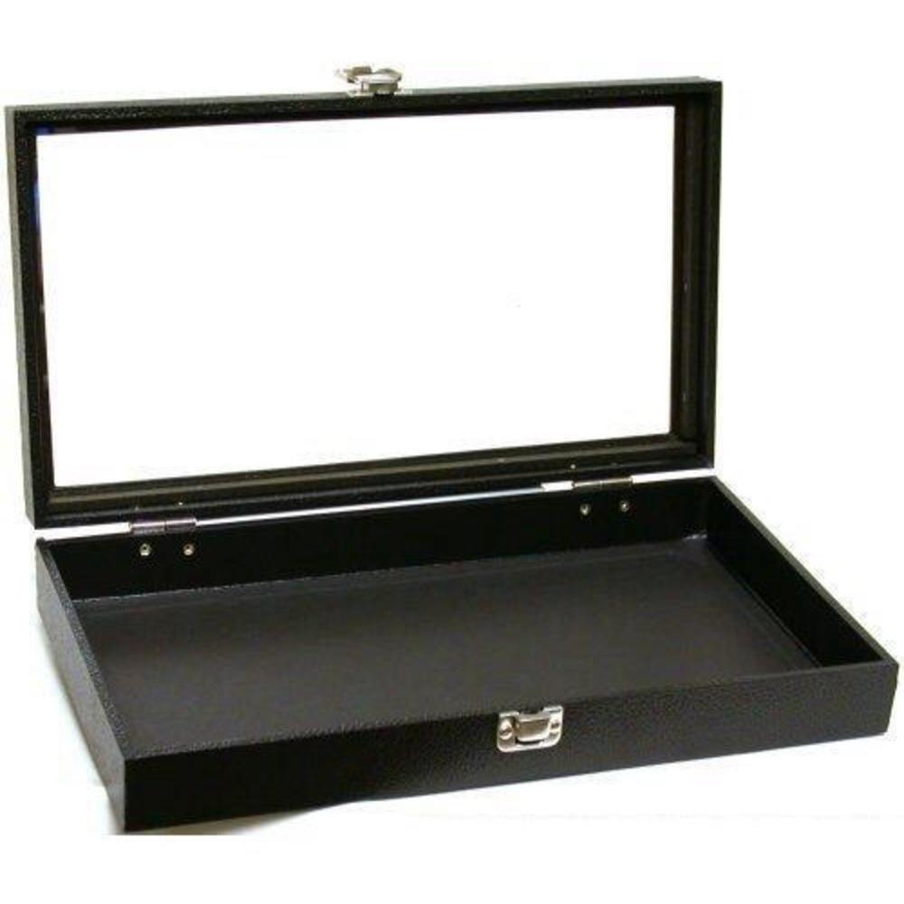 Black Jewelry Travel Showcase Display Glass Lid Case 14 3/4