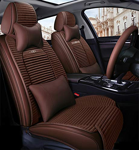 Full Set Universal Fit 5 Seats Car PU Leather Car Seat Cushions Anti-Slip Suede Backing Universal Fit Car Seat Covers for Sedan SUV Seats,Brown: