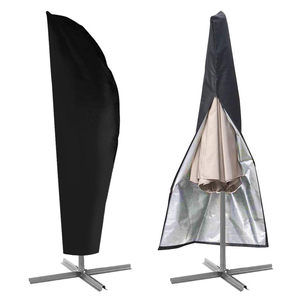 IC ICLOVER Umbrella Cover, Patio Parasol Cantilever Offset Umbrella Protective Storage Cover Outdoor Durable Waterproof Dustproof with Zipper Fits 9ft to 13ft,Black by IC ICLOVER