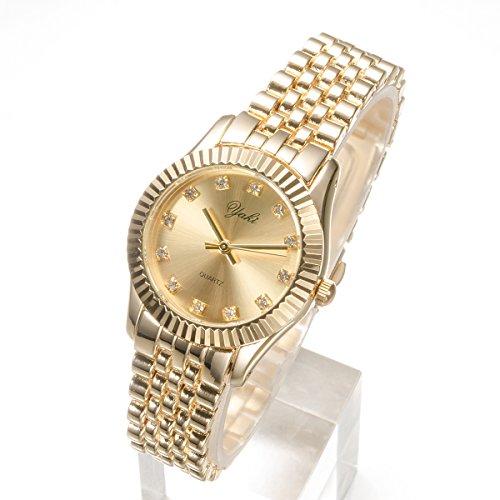 Yaki Goldene Uhren Strass Damen Armbanduhr Quarz Uhr Gold Ziffernblatt Mit Metallarmband